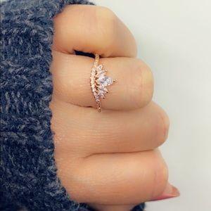 Rose Gold Filled Inlay Crystal Modern Ring